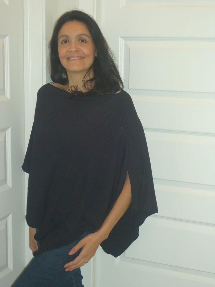 Breezy Nursing Cover, Poncho, Black Gauze Beach Cover Up, Organic Cotton, SALE by UchiWraps on Etsy