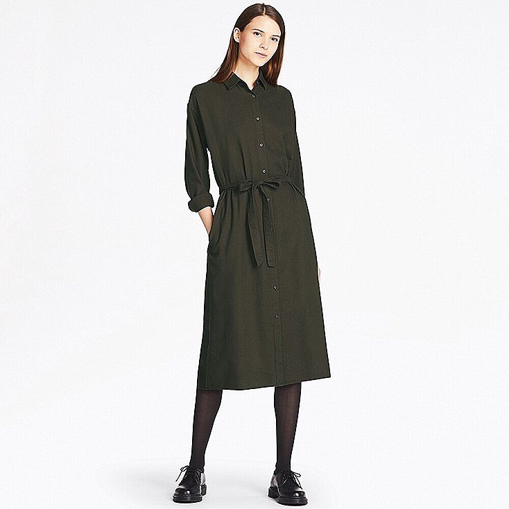 WOMEN FLANNEL LONG-SLEEVE SHIRT DRESS, OLIVE