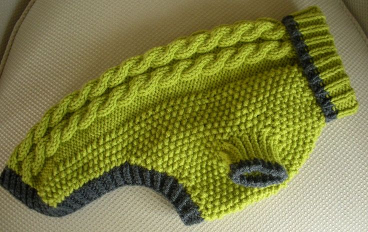 Dog Sweater - Cable Knit - Apple Green with Grey Trim - Medium - Ready to Ship. $39.00, via Etsy.