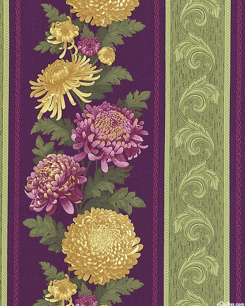mums plum stripe | ... Mum for A Mum - Victorian Chrysanthemum Stripe - Deep Plum