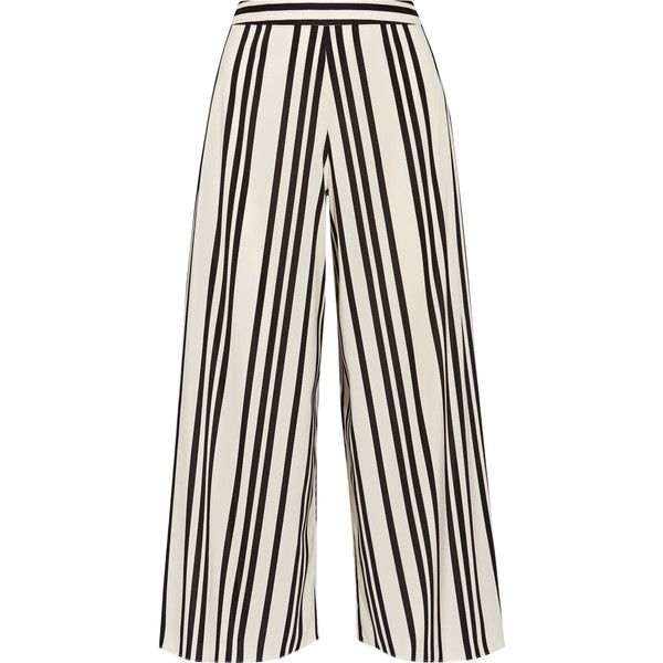Alice + Olivia Sherice striped georgette wide-leg pants ($360) ❤ liked on Polyvore featuring pants, trousers, high waisted trousers, white wide leg pants, high rise pants, wide leg trousers and stripe pants