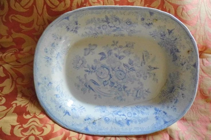 Asiatic Pheasant Victorian Platter c1850 Blue white