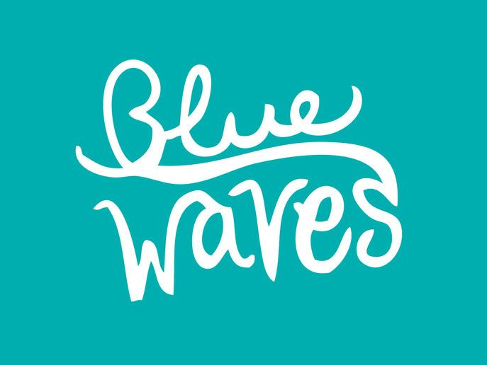 Logotipo para el grupo de música surfero Blue Waves #freehand #type #logo #surfmusic #bluewaves