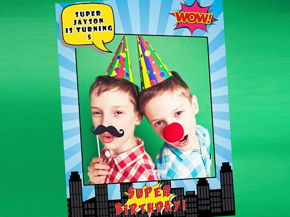 Large Custom social Super Hero Poster City View photo booth prop frame, Selfie Frame for Happy Birthday picture sizes 48x36; 36x24; 1001120