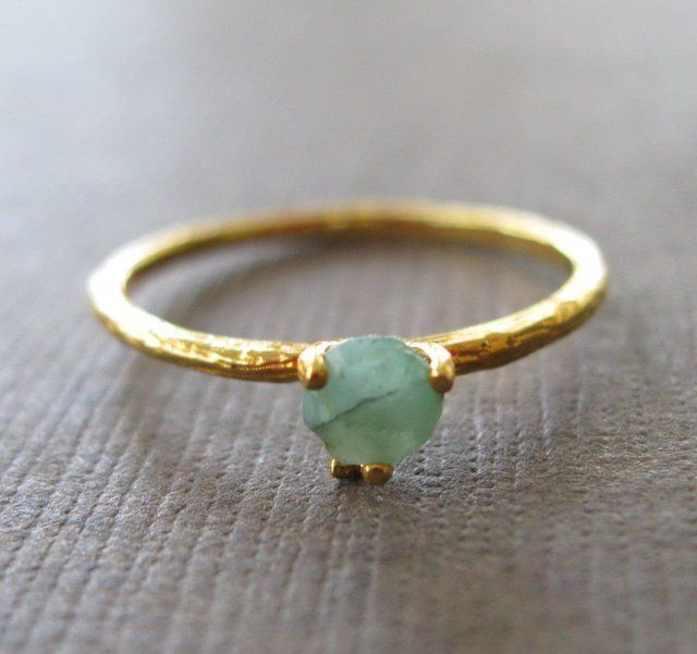Fancy - Organic Raw Emerald Vermeil Stacking Ring