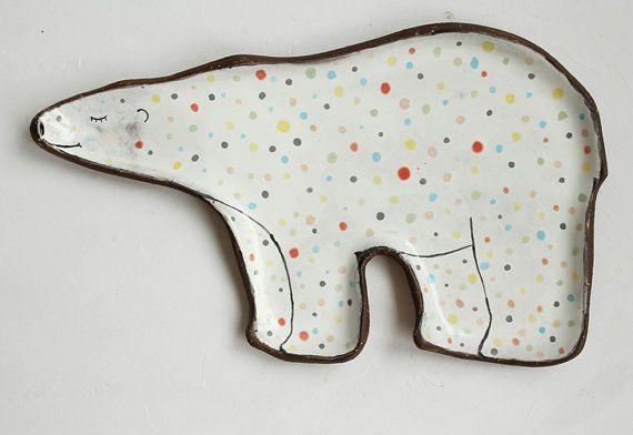 Bear plate - polar bear, ceramic plate with polka dot