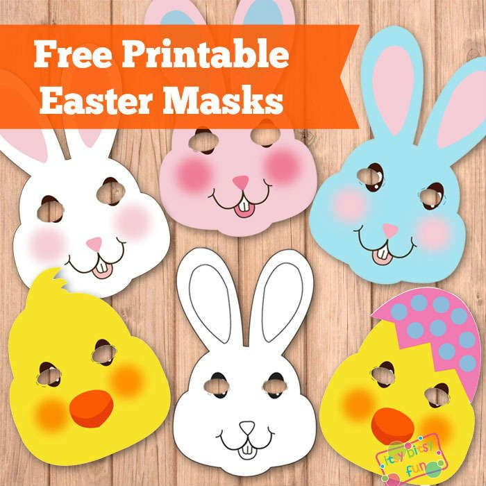 easter masks bunny rabbit and chick template