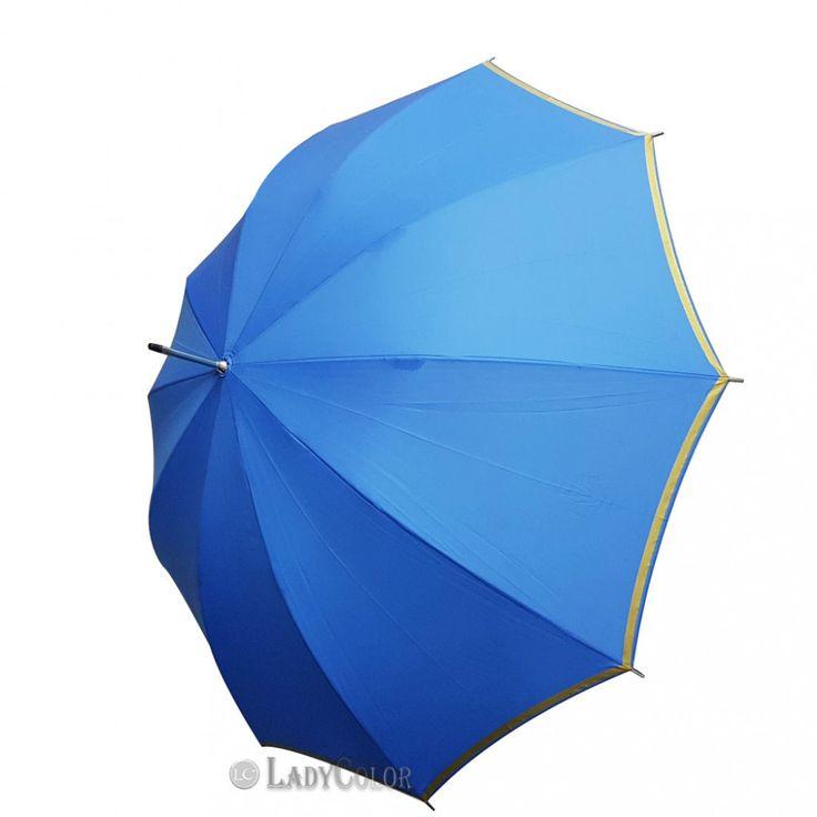 Orjinal CELAL BİRSEN Şemsiye 10 Telli Baston Şeritli Mavi