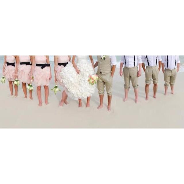 Destination Wedding - Tan Linen Pants, vest, and Crisp White Shirts by Eph Apparel