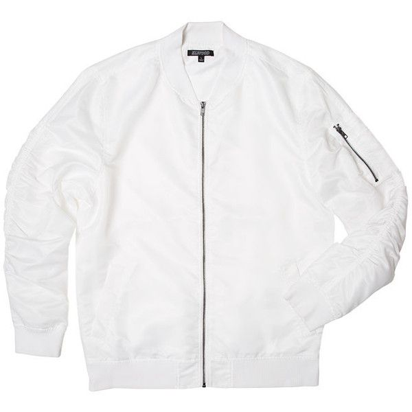 Ghost White Nylon Bomber Jacket ($25) ❤ liked on Polyvore featuring outerwear, jackets, party jackets, nylon jacket, bomber style jacket, bomber jackets and flight jacket