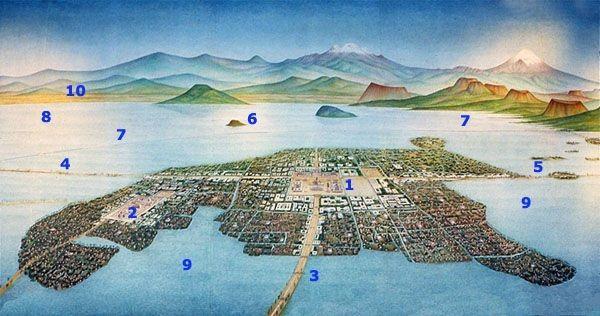 Recreación pictográfica de la vista aérea de la gran ciudad mexica y sus grandes lagos. Los puntos de referencia son: 1.    Centro Ceremonial, sede del Templo Mayor 2.    Centro comercial y ceremonial de Tlatelolco 3.    Calzada a Tlacopan y Tacuba 4.    Calzada a Tepeyacac 5.    Calzada Iztapalapa y Xochimilco 6.    Cerro del Peñón parcialmente sumergido 7.    Albarrada de Netzahualcoyotl 8.    Lago de Texcoco 9.    Lago de México 10.  Ciudad de Texcoco