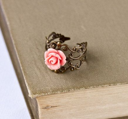 Coral Pink Ring - Adjustable Vintage Style Ring, Shabby Chic Ring, Rose Ring, Antique Brass Ring, Bridesmaid Gift