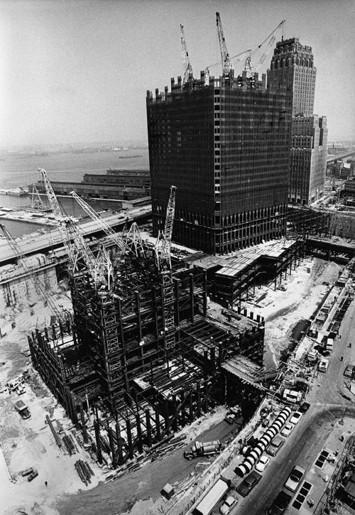 NYC.  World Trade Center Towers in construction