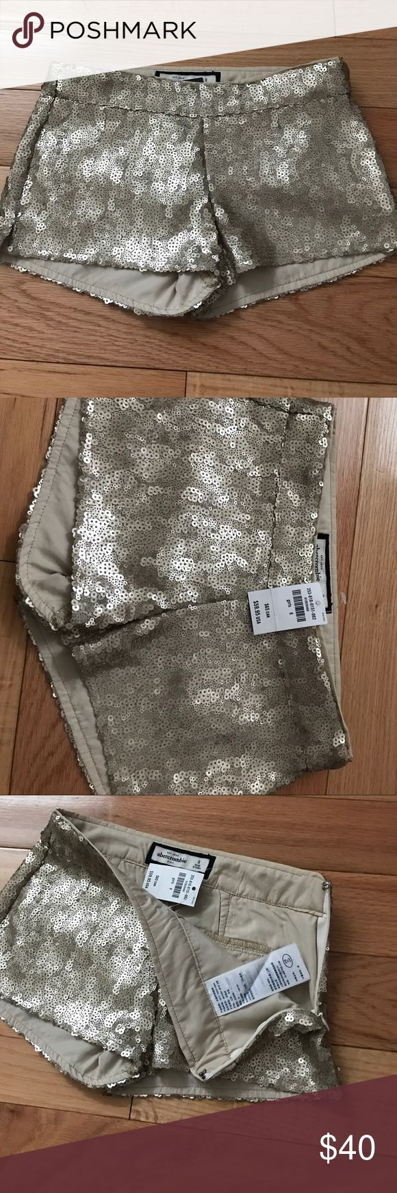 Abercrombie & Fitch gold sequin shorts Brand new gold sequin shorts with side zip and 2 back pockets. Girls Sz 8 Abercombie Kids Bottoms Shorts