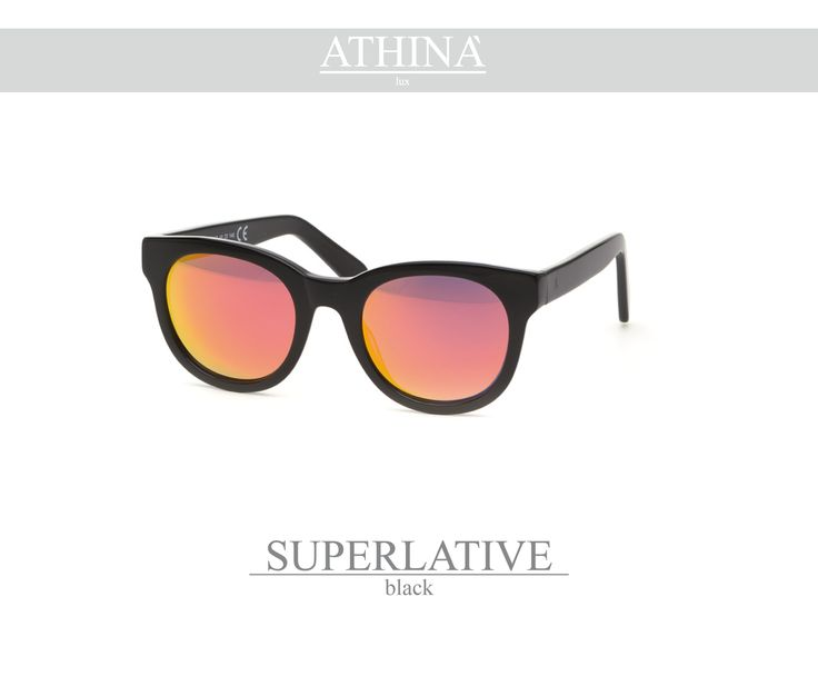 Mod. SUP0505M01 Black acetate of cellulose frame with unbreakable mirror red lenses.