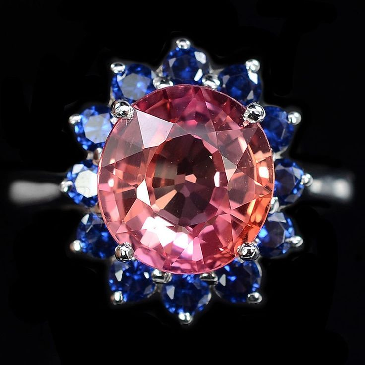 Vintage 4.45CT Oval Cut Pink Padparadscha Sapphire Blue Sapphire Halo Ring