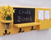 Mail Holder + Chalkboard + Key Hooks + Jar Vase + Organizer