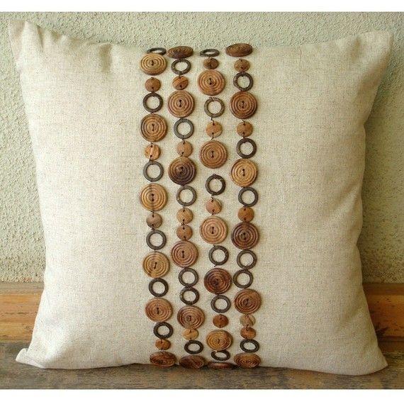 Funda de almohada a lino espacio madera 18 x 18  por TheHomeCentric