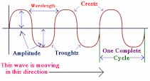Shows the parts of a wave including amplitude, wavelength, crests, troughs, and frequency