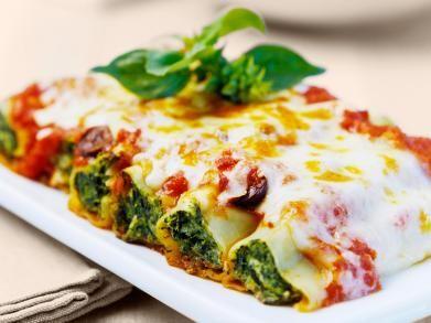 Cannelloni met ricotta, spinazie en tomaten