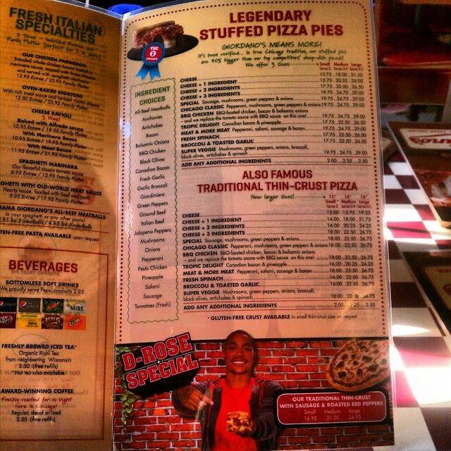 Giordano's menu.