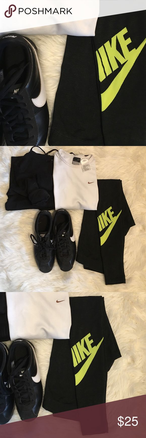 Nike SET Leg-a-see Legging & White L/S Dri fit Top Excellent stretch. Neon Green Nike Logo on the back of the leg calf. Long sleeve dri fit top has great breathability and lightweight. Both are great for workouts and athleisure of course! Nike Pants Leggings