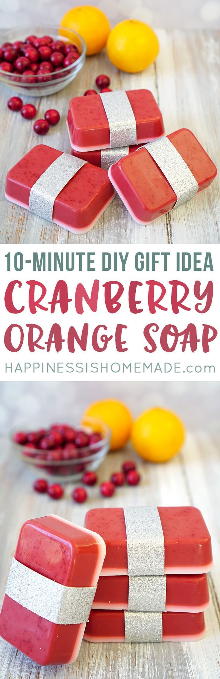 This Cranberry Orange Soap smells delicious, and you can whip up a batch in just a few minutes! Makes a great DIY homemade holiday gift idea that's perfect for friends, family, neighbors, and teachers!