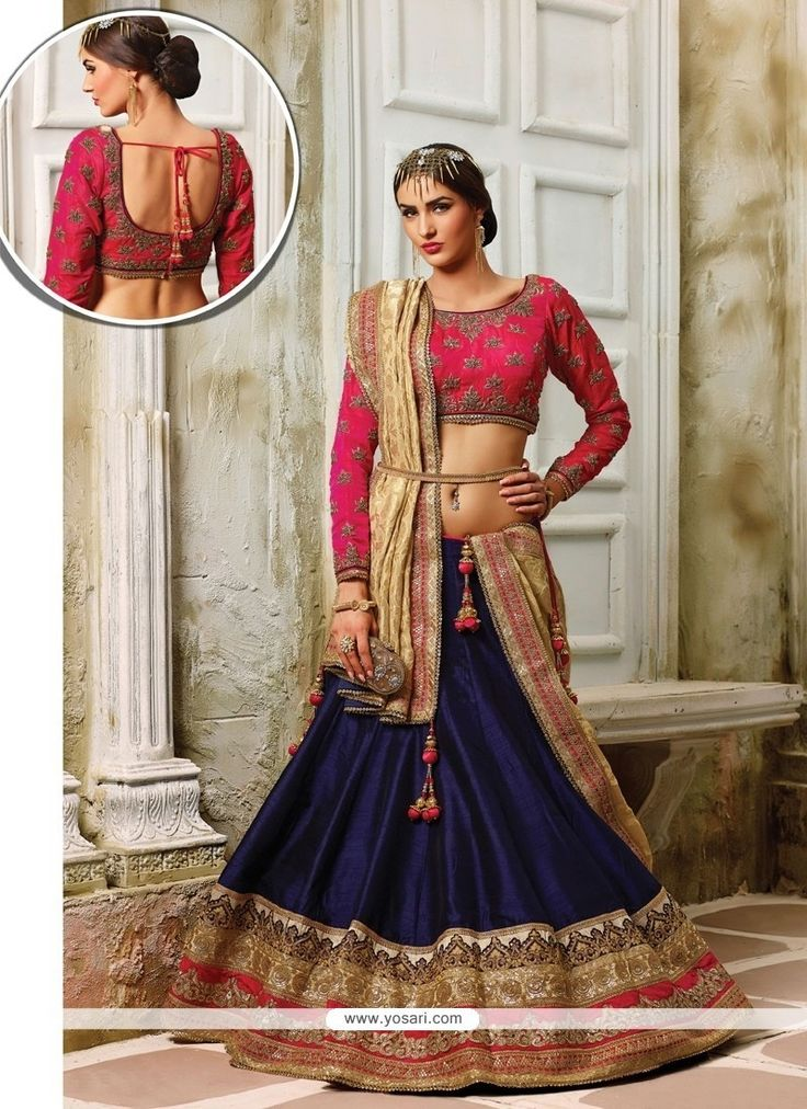 Mod Navy Blue Patch Border Work A Line Lehenga Choli Model: YOLEN3154