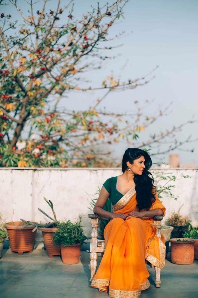 Sarees By Nafisa Rachel William  Pure chiffon orange saree with gold and silver Gota patti.