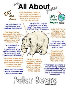 "These ""All About"" books will be a fun addition to your classroom and lessons on polar animals. This packet can be used along with books specific to the animals or it can be used on its own. Included in this unit are full-color posters with a colorful graphic of each of the animals and information on the animals such as; where the animal lives (green), what the animal eats (brown), interesting facts about the animal (blue) and what the animal looks like (orange)."
