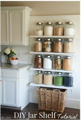 The Homestead Survival | Add Old Fashioned Charm To Your Kitchen With Jars On Shelves | http://thehomesteadsurvival.com