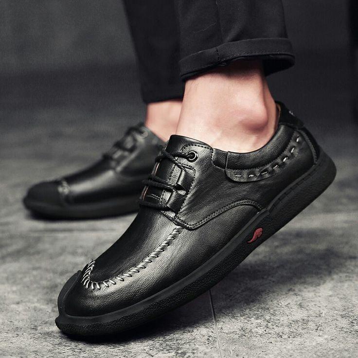 >> comprar aqui << Prelesty Vintage Marca de Lujo de Los Hombres Calientes del Invierno Zapatos Ocasionales Hechos A Mano de Cuero Genuino Lace Up Soft Transpirable Zapatos Para Caminar