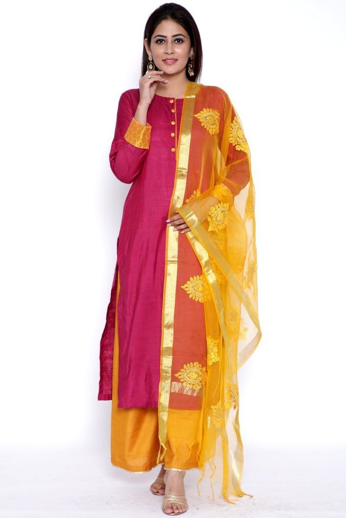 4a029fd0c3 Purple Gold Silk Kurti with Flared Palazzo and Yellow Organza Dupatta