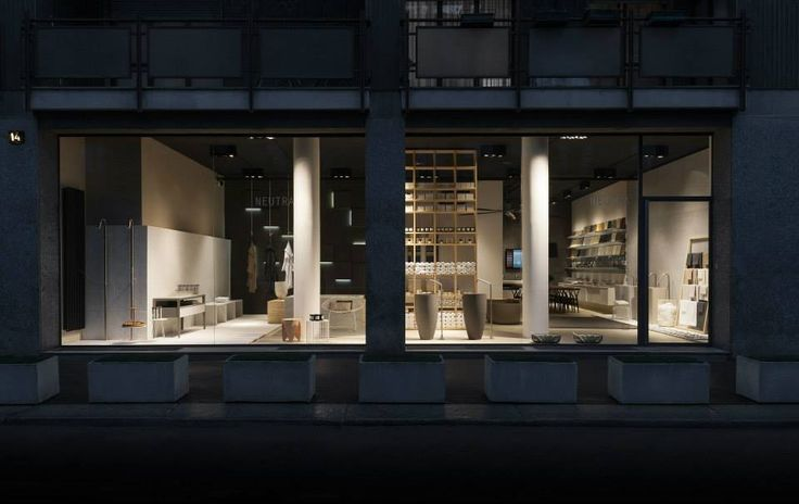 NEUTRA Flagship Store in milan - water_wellness_stone. #bathroom #spa #design #night #showcase