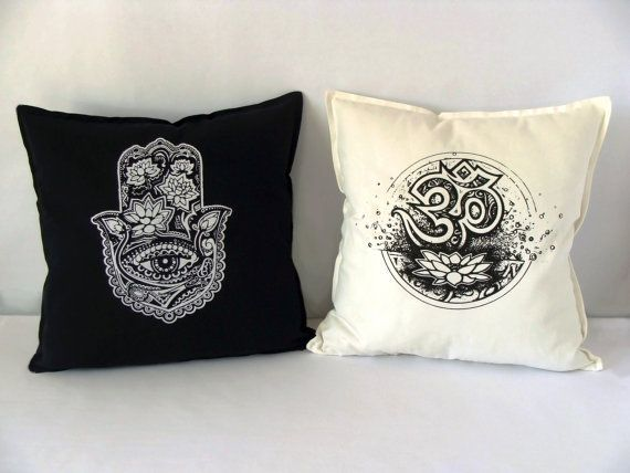 Couple Of Cushions Cover, Om Symbol Pillow, Hamsa Pillow, Yoga Pillow, Black and White Pillows, Yoga Accessories, Yoga Decor, Cotton Pillow