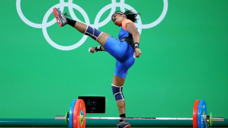 Weightlifting-Celebration:   Mathlynn Sasser of the Marshall Islands celebrates after a lift during women's weightlifting 58kg group B in the Rio 2016 Summer Olympic Games at Riocentro - Pavilion 2.