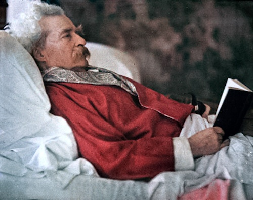 "A rare photo of Mark Twain in color (early Autochrome), by Alvin Langdon Coburn, ca. 1909 --- Autochrome is an additive color ""mosaic screen plate"" process. The medium consists of a glass plate coated on one side with a random mosaic of microscopic grains of potato starch dyed red-orange, green, and blue-violet (an unusual but functional variant of the standard red, green, and blue additive colors) which act as color filters. #marktwain #autochrome"