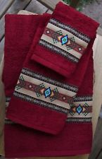 WESTERN/SOUTHWEST DECOR RUSTIC 3 PC TOWEL SET,SEDONA RED,AZTEC BORDER,GORGEOUS