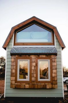 Dutch Gable Roof - Molly by Tiny is Now       LOVE!!!!!! This space. I would add a small washer/dryer to it and put a bookcase and ladder where the stairs are.**********