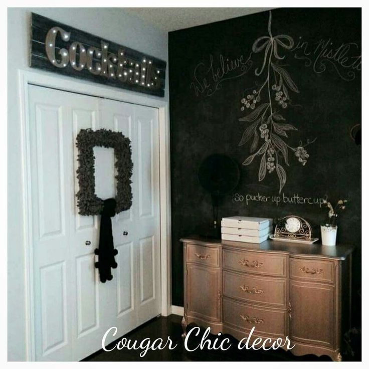 Thanks @lannierae for the photo of your #cougarchicdecor #barnwood #lightupsigns #gold #cocktails ...how awesome is her house?! I love her #gold buffet and #chalkboardwall www.albertadames.ca