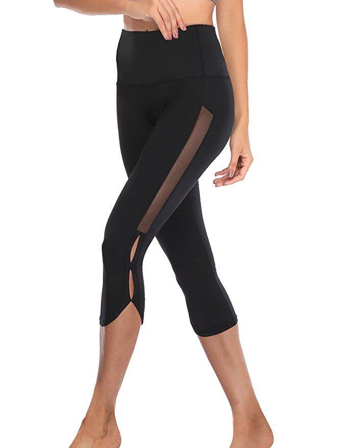 39683d3849 TELALEO Yoga Pants for Women with Pocket, High Waisted Mesh Workout Running Exercise  Capri Leggings