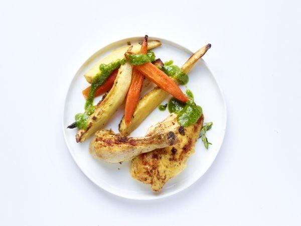Kip met vergeten groenten en kalepesto - Libelle Lekker!