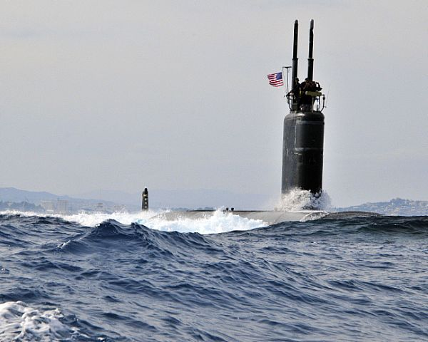 The Los Angeles-class fast attack submarine USS Alexandria (SSN 757) departs Souda Bay, Greece.