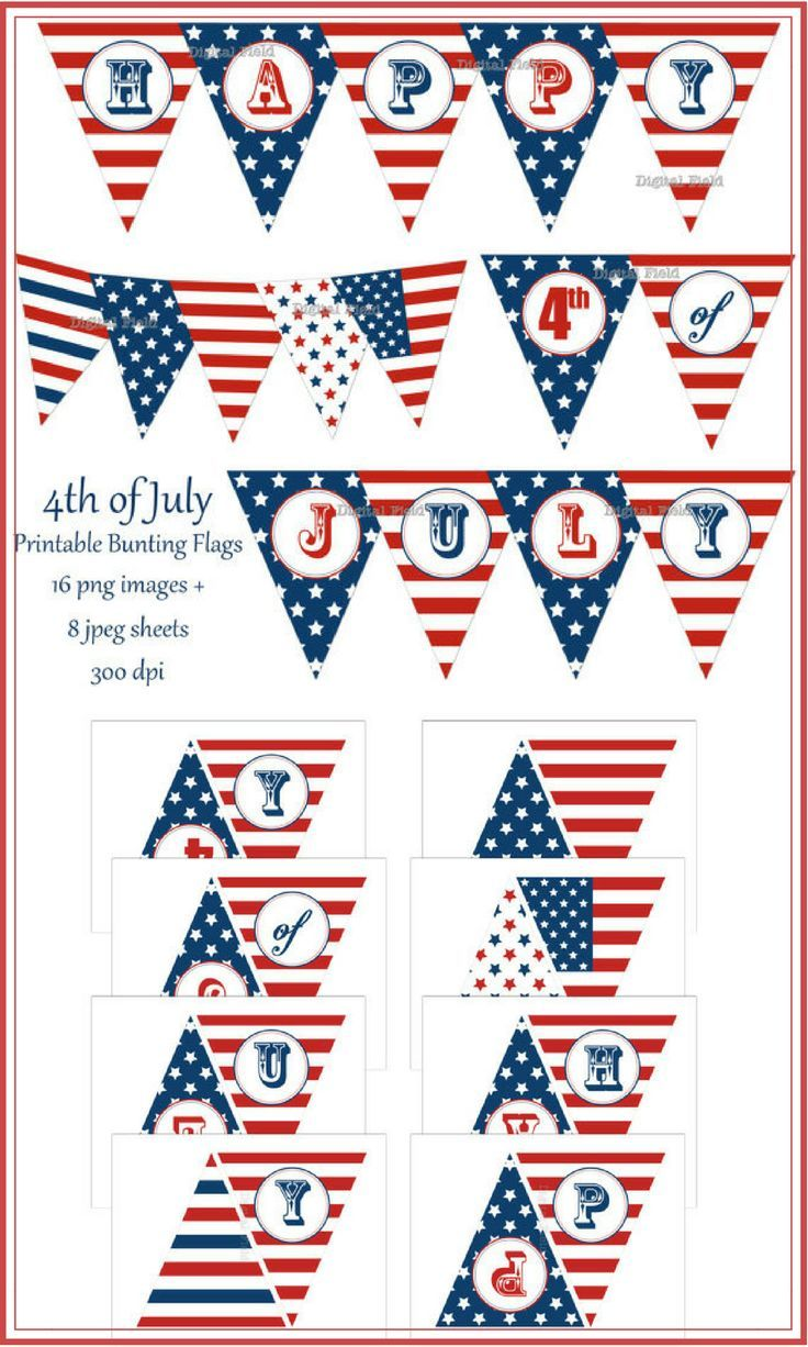 fe09e53c05b5d9 4th of July instant download printable bunting. So cute! I love this ...