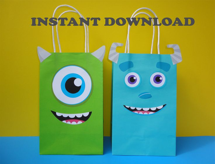 DIY Monsters Inc Party Favor Bags - Monsters Inc/ Monsters University Birthday Party Ideas/ Little Monster/ Monsters Party Ideas/ Decorations/ Favors/ Goody/ Candy/ Goodie/Treat/ Loot/ Bags/ Bag/ boxes/ labels/ stickers/ onesie/ little monster baby shower ideas/ Monsters birthday cake/ cookies/ banner/ printable monsters invite/ invitations/ cupcake toppers/ pinata/ party games/ free/ sulley/ mike/ monsters inc baby shower/ monsters inc 1st/ first birthday party/ fiesta monstruos/ printables