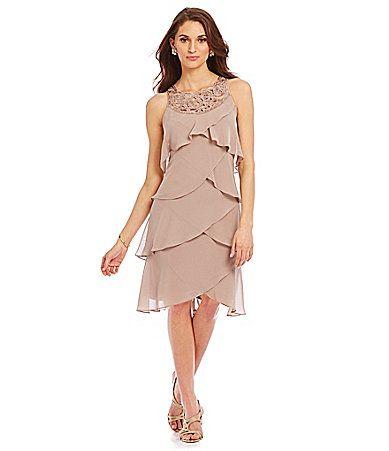 Sl Fashions Women S Jewel Neck Multi Tiered Cocktail Dress
