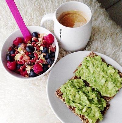Coffe, fruit, an toast.