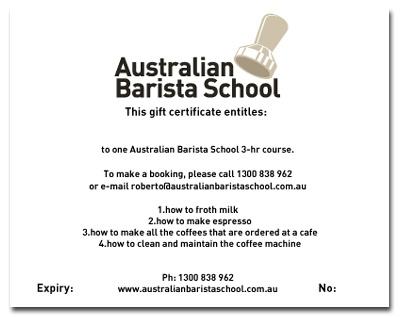 ummmm yes please!!!!  Gift Certificates for Coffee Classes at Australian Barista School, Sydney Barista School, Brisbane Barista School - Brisbane Barista School