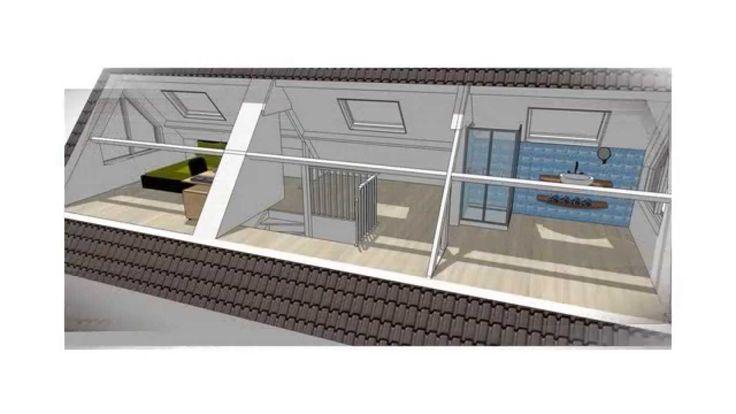 Verbouwingsontwerp zolder Sint Oedenrode: slaapkamer met doucheruimte (v...