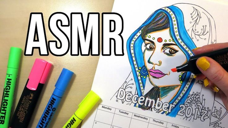 Marker Sounds ASMR - No Talking || Coloring Calendar 2017